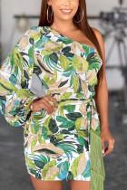 Green Fashion Sexy Single Sleeve Long Sleeve Oblique Collar Mini Print Dresses