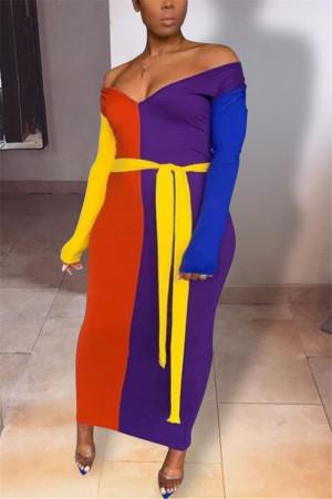 Multi Fashion Sexy Regular Sleeve Long Sleeve V Neck Ankle Length Patchwork Dresses