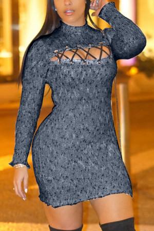 Black Fashion Sexy Regular Sleeve Long Sleeve Turtleneck Mini Patchwork Pierced Dresses