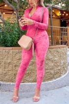 Rose Red Fashion Casual V Neck Long Sleeve Regular Sleeve Skinny Solid Jumpsuits