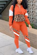 Orange Casual Sportswear Long Sleeve Zipper Collar Regular Sleeve Regular Patchwork Two Pieces