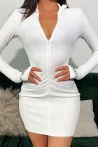 White Fashion Sexy Regular Sleeve Long Sleeve Zipper Collar Mini Solid Dresses