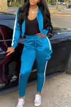 Light Blue Casual Sportswear Long Sleeve Zipper Collar Regular Sleeve Short Patchwork Two Pieces