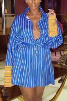 Blue Fashion Casual Regular Sleeve Long Sleeve Turndown Collar Shirt Dress Mini Striped Print Dresses