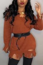 Orange Fashion Sexy Regular Sleeve Long Sleeve V Neck Mini Solid Dresses (Without Belt)