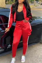 Red Casual Sportswear Long Sleeve Zipper Collar Regular Sleeve Short Patchwork Two Pieces