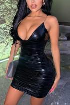 Black Fashion Sexy Spaghetti Strap Sleeveless Spaghetti Strap Mini Solid Dresses