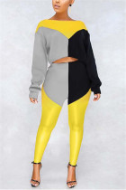 Yellow Casual Sportswear Long Sleeve O Neck Regular Sleeve Short Patchwork Two Pieces