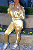 Gold Casual Sportswear Long Sleeve Zipper Collar Regular Sleeve Short Patchwork Two Pieces
