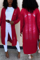 Jujube Red Fashion Casual Long Sleeve Regular Sleeve Solid Coats