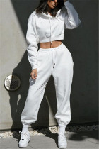 White Casual Sportswear Long Sleeve Hooded Collar Regular Sleeve Short Solid Two Pieces