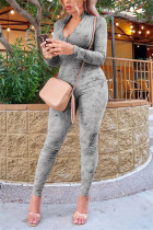 Gray Fashion Casual V Neck Long Sleeve Regular Sleeve Skinny Solid Jumpsuits