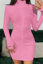 Pink Fashion Sexy Regular Sleeve Long Sleeve Zipper Collar Mini Solid Dresses