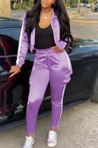 Light Purple Casual Sportswear Long Sleeve Zipper Collar Regular Sleeve Short Patchwork Two Pieces