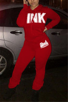 Red Fashion Casual Adult Polyester Print Letter Hooded Collar Long Sleeve Regular Sleeve Regular Two Pieces