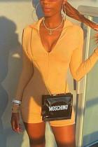 Khaki Fashion Sexy Zipper Collar Long Sleeve Regular Sleeve Skinny Solid Romper