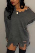 Gray Fashion Sexy Regular Sleeve Long Sleeve V Neck Mini Solid Dresses (Without Belt)