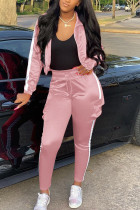 Pink Casual Sportswear Long Sleeve Zipper Collar Regular Sleeve Short Patchwork Two Pieces