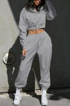 Gray Casual Sportswear Long Sleeve Hooded Collar Regular Sleeve Short Solid Two Pieces