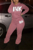 Pink Fashion Casual Adult Polyester Print Letter Hooded Collar Long Sleeve Regular Sleeve Regular Two Pieces