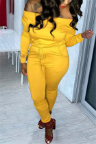 Yellow Fashion Casual Long Sleeve Bateau Neck Off The Shoulder Regular Solid Two Pieces