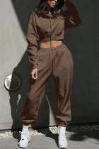 Dark Brown Casual Sportswear Long Sleeve Hooded Collar Regular Sleeve Short Solid Two Pieces