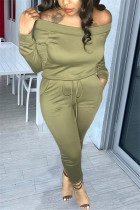 Army Green Fashion Casual Long Sleeve Bateau Neck Off The Shoulder Regular Solid Two Pieces