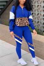 Blue Casual Sportswear Long Sleeve Zipper Collar Regular Sleeve Regular Patchwork Two Pieces