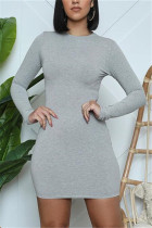 Grey Fashion Daily Adult Polyester Solid Split Joint O Neck Long Sleeve Mini Pencil Skirt Dresses