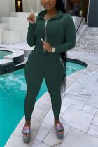 Ink Green Casual Sportswear Long Sleeve Hooded Collar Regular Sleeve Regular Solid Two Pieces