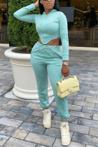 Blue Green Fashion Sportswear Long Sleeve Hooded Collar Regular Sleeve Short Solid Two Pieces
