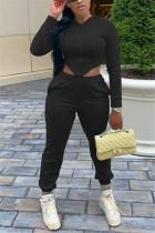 Black Fashion Sportswear Long Sleeve Hooded Collar Regular Sleeve Short Solid Two Pieces