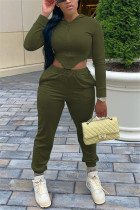 Army Green Fashion Sportswear Long Sleeve Hooded Collar Regular Sleeve Short Solid Two Pieces