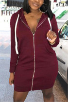 Wine Red Fashion Casual Regular Sleeve Long Sleeve Hooded Collar Mini Solid Dresses