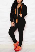 Black Casual Sportswear Long Sleeve Hooded Collar Regular Sleeve Regular Solid Two Pieces