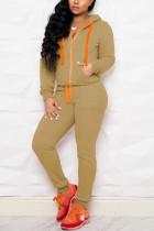 Khaki Casual Sportswear Long Sleeve Hooded Collar Regular Sleeve Regular Solid Two Pieces
