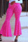 Rose Red Fashion Casual Print Mid Waist Flared Pants