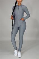 Gray Casual Sportswear Long Sleeve Hooded Collar Regular Sleeve Regular Solid Two Pieces