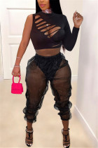 Black Fashion Sexy Long Sleeve One Shoulder Single Sleeve Short Solid Two Pieces