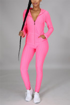 Pink Casual Sportswear Long Sleeve Hooded Collar Regular Sleeve Regular Solid Two Pieces