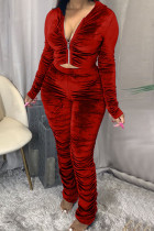 Red Fashion Sexy Adult Pleuche Solid Fold Hooded Collar Long Sleeve Regular Sleeve Regular Two Pieces