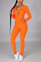 Orange Casual Sportswear Long Sleeve Hooded Collar Regular Sleeve Regular Solid Two Pieces