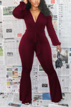 Wine Red Sexy Polyester Solid Bandage V Neck Skinny Jumpsuits