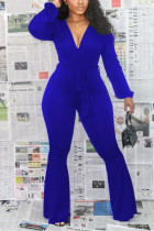 Blue Sexy Polyester Solid Bandage V Neck Skinny Jumpsuits