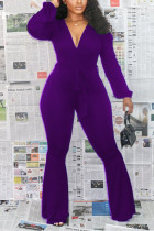purple Sexy Polyester Solid Bandage V Neck Skinny Jumpsuits