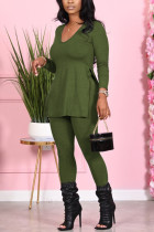 Green Fashion Casual Long Sleeve V Neck Regular Sleeve Regular Solid Two Pieces