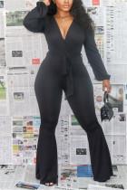 Black Sexy Polyester Solid Bandage V Neck Skinny Jumpsuits