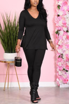 Black Fashion Casual Long Sleeve V Neck Regular Sleeve Regular Solid Two Pieces