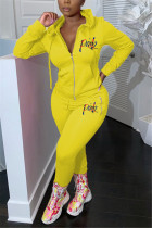 Yellow Casual Embroidered Hooded Collar Two Pieces