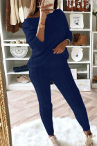 Blue Fashion Casual Long Sleeve Oblique Collar Regular Sleeve Regular Solid Two Pieces